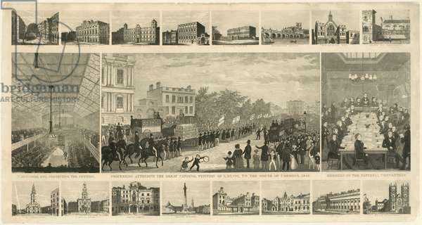 Procession attending the Great National Petition of 3,317,702, to the House of Commons, 1842 (engraving)