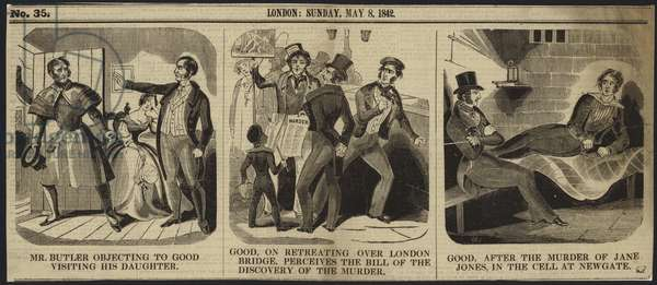 Three events in the murder of Jane Jones (engraving)