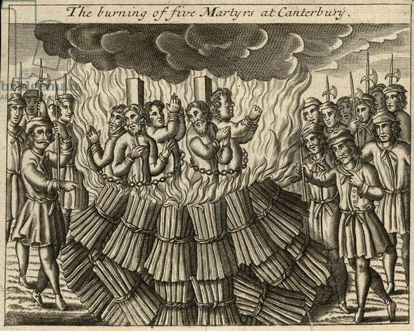 The burning of five martyrs at Canterbury (engraving)