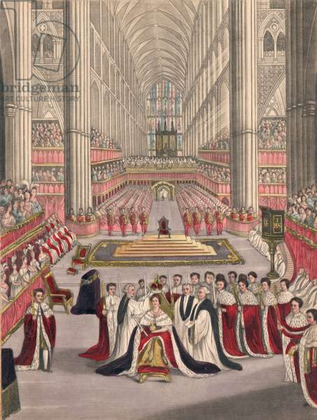 Coronation of Queen Victoria (coloured engraving)