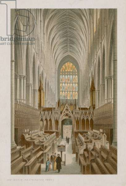 Interior of the Choir of Westminster Abbey (coloured engraving)