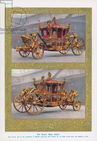 The Gold State Coach, used for the coronation of all British monarchs since King George IV (colour litho)
