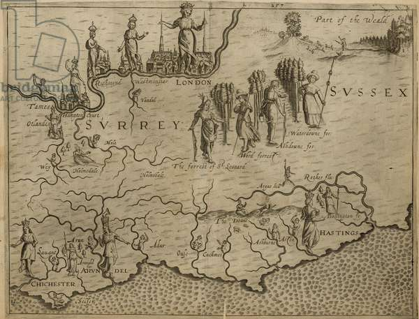 Map of the south of England, including London, Surrey and Sussex (engraving)