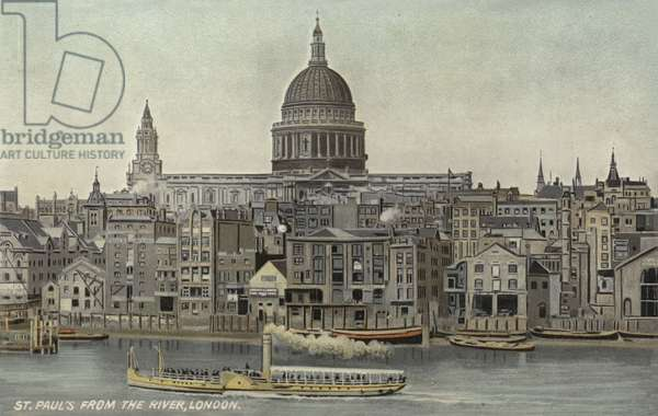 St Paul's from the river, London (colour litho)