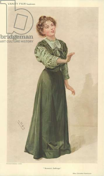 Miss Christabel Pankhurst (colour litho)