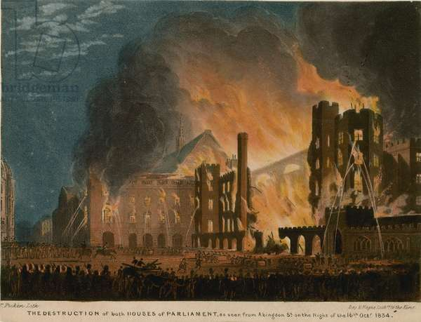 The destruction of both Houses of Parliament as seen from Abingdon Street (coloured engraving)