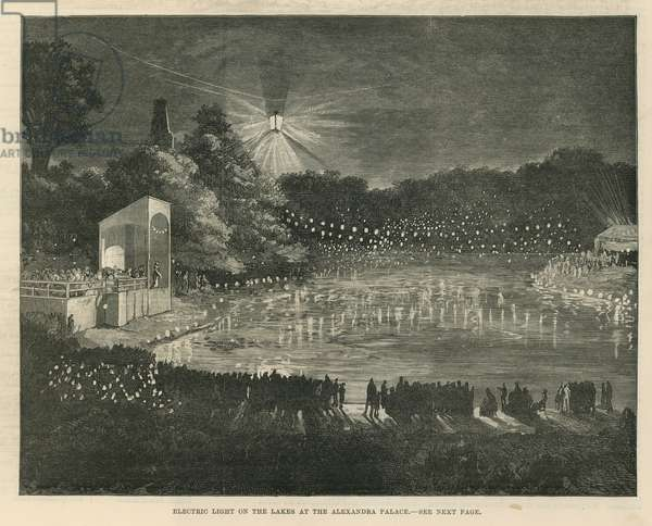 Electric light on the lakes at the Alexandra Palace (engraving)