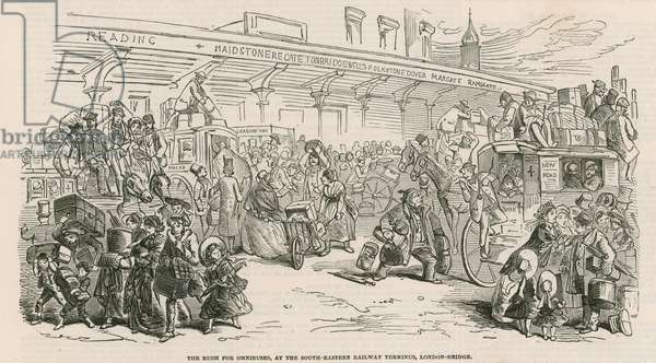 The Great Cab Strike: The rush for omnibuses, at the South-Eastern Railway Terminus, London Bridge (engraving)