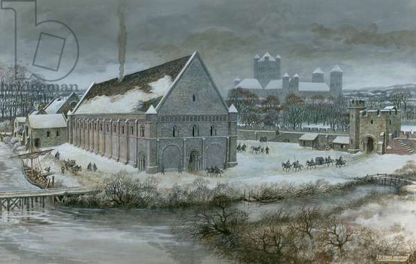 Westminster Hall in the snow (gouache on paper)