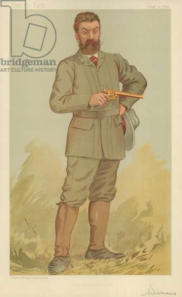 Mr Walter Winans, The record revolver shot, 17  August 1893, Vanity Fair cartoon (colour litho)
