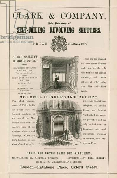 Advert for Clark & Company, self-coiling revolving shutters (engraving)