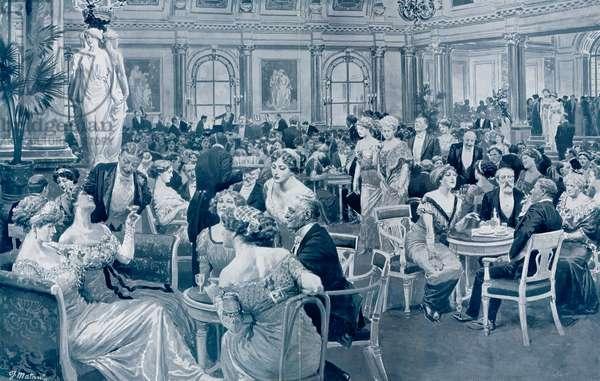 Savoy Hotel, Sunday evening, March 1911 (litho)