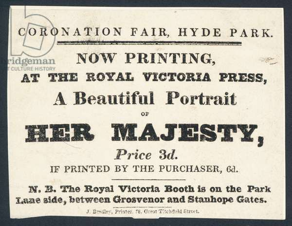 Advertisement for printed portraits of Queen Victoria (litho)