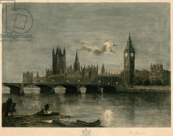 Westminster at night (coloured engraving)