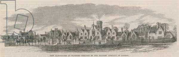 New almshouses at Watford (engraving)