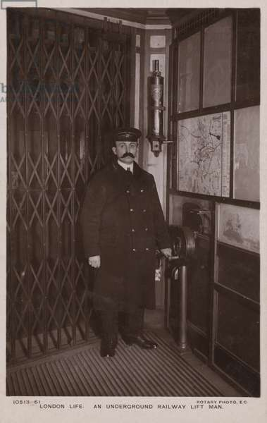 London Life, An Underground Railway Lift Man (b/w photo)