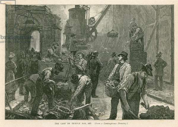 Temple Bar, London, Demolition, 1877 (engraving)