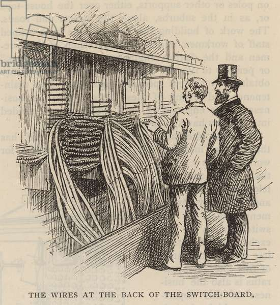 Transmitters' Room at the Queen Victoria Street Exchange: The wires at the back of the switchboard (engraving)