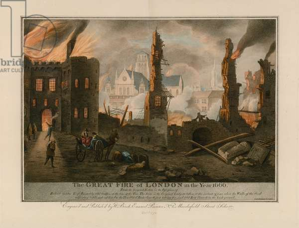 The Great Fire of London in 1666 (coloured engraving)