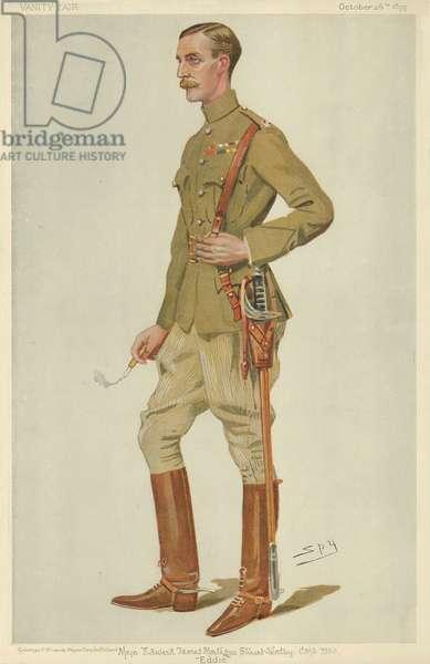 Major Edward James Montagu Stuart-Wortley, Eddie, 26 October 1899, Vanity Fair cartoon (colour litho)
