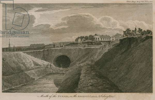 Mouth of the tunnel on the Regent's Canal, Islington, London (engraving)