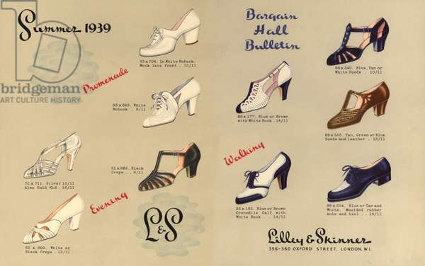 Advertisement for Lilley and Skinner shoes, summer 1939 (colour litho)