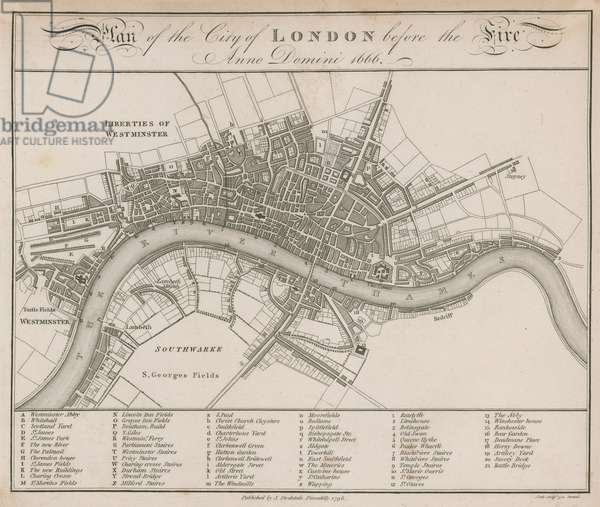 Plan of the City of London before the fire of 1666 (engraving)