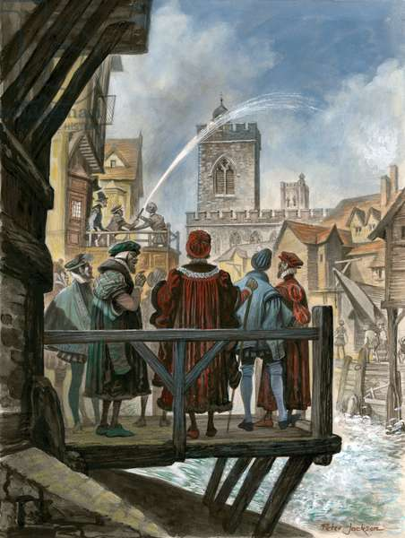 Peter Morris' waterworks on old London Bridge being admired by the Lord Mayor and Aldermen of the City (gouache on paper)