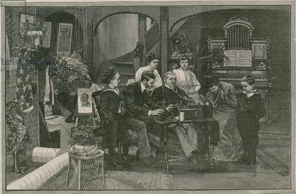 Receiving a message from America by Edison's phonograph (engraving)