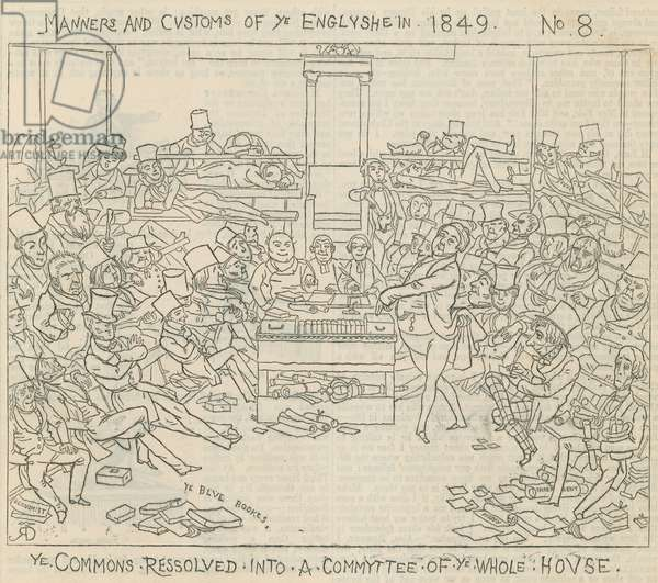 Manners and customs of the English in 1849: The Commons resolved into a committee of the whole house (engraving)