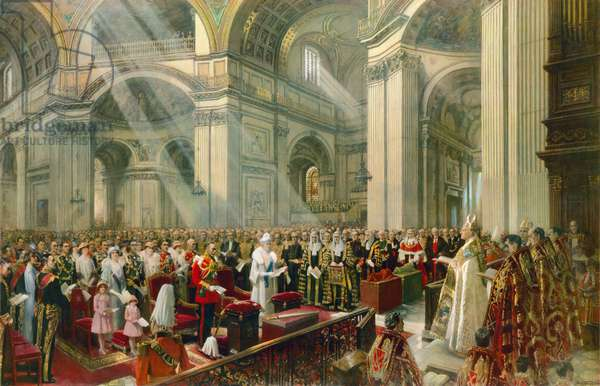 The Heart of the Empire, 6 May 1935, the Thanksgiving Service at St Paul's Cathedral (coloured engraving)