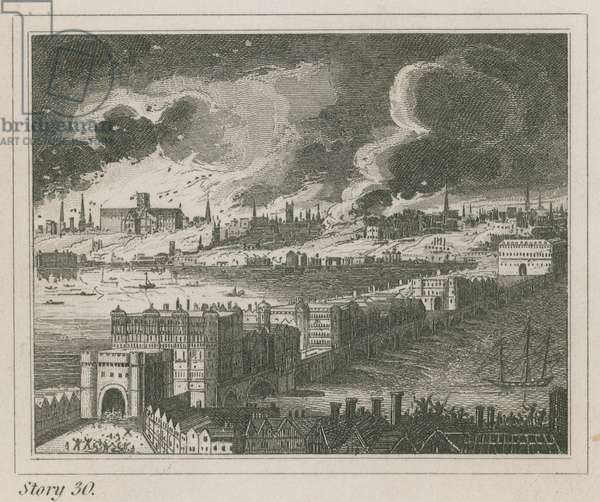 London during the Great Fire (engraving)