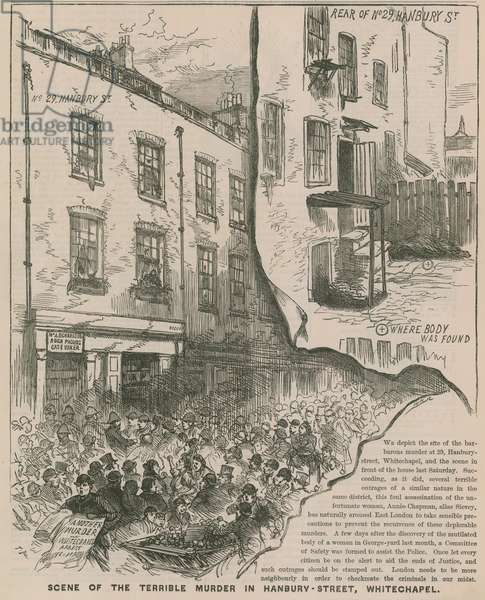 Jack the Ripper: Scene of the terrible murder in Hanbury Street, Whitechapel (engraving)