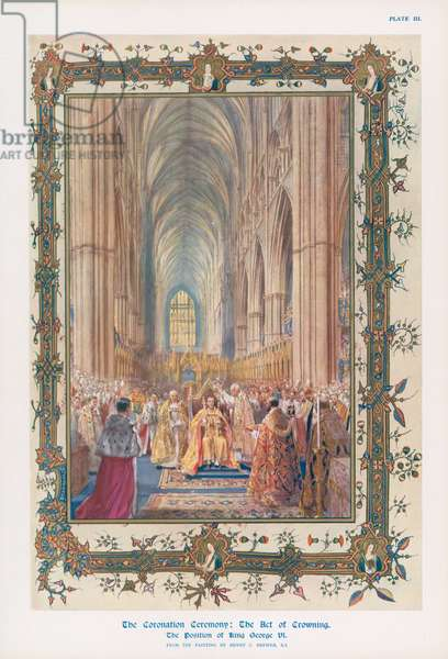 The act of crowning during the ceremony of the Coronation of King George VI in Westminster Abbey, London (colour litho)