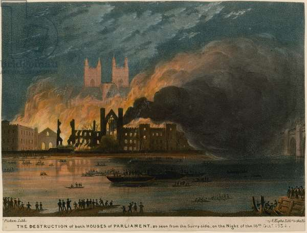 The destruction of both Houses of Parliament as seen from the Surrey side (coloured engraving)