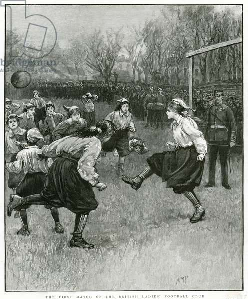 The first match of the British Ladies' Football Club (engraving)