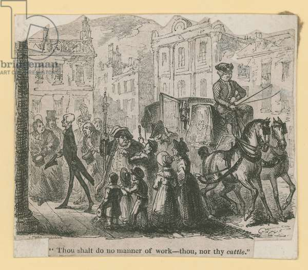 Thou shalt do no manner of work - thou, nor thy cattle (engraving)