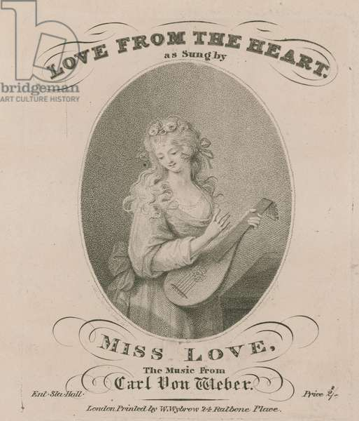 Musical score for Love from the Heart as sung by Miss Love (engraving)