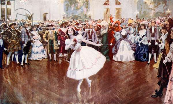 Madame Pavlova attending a fancy dress ball at the Savoy (colour litho)