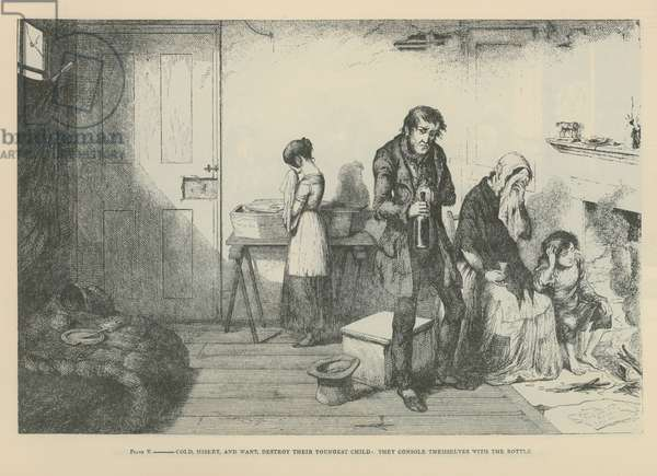 Cold, misery, and want, destroy their youngest child (engraving)