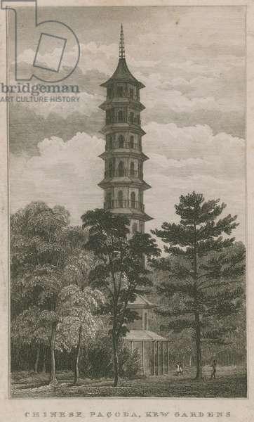 Chinese Gardens, Kew Gardens, London (engraving)