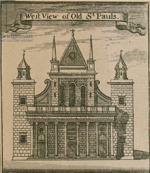 West view of Old St Paul's, London (engraving)