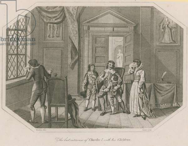 The last interview of King Charles I with his children (engraving)