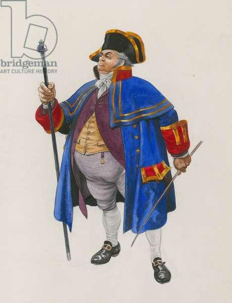 Mr Bumble, Oliver Twist (gouache on paper)