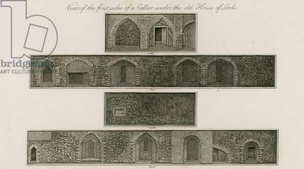Views of the four sides of a cellar under the old House of Lords (engraving)
