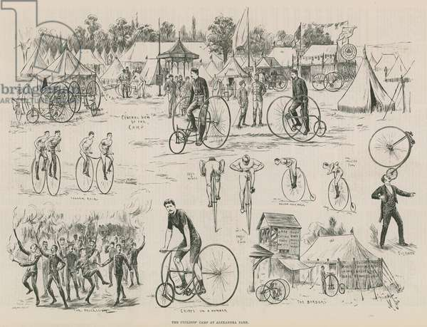 The cyclists' camp at Alexandra Park (engraving)