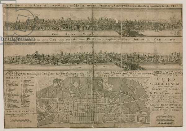 London, before and after the Great Fire (engraving)