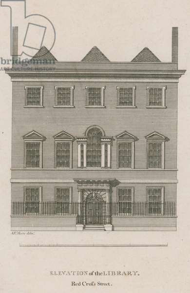 Elevation of the Library, Red Cross Street, London (engraving)