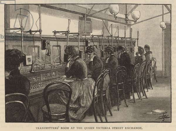Transmitters' Room at the Queen Victoria Street Exchange (engraving)