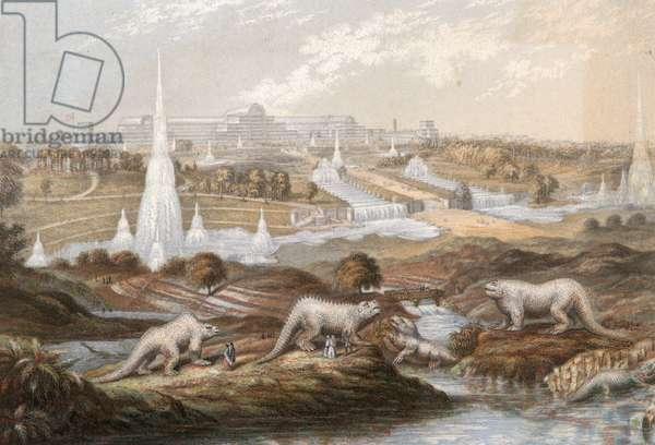 Dinosaurs at Crystal Palace (coloured engraving)